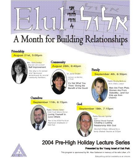 Pre High Holiday Lecture 2004